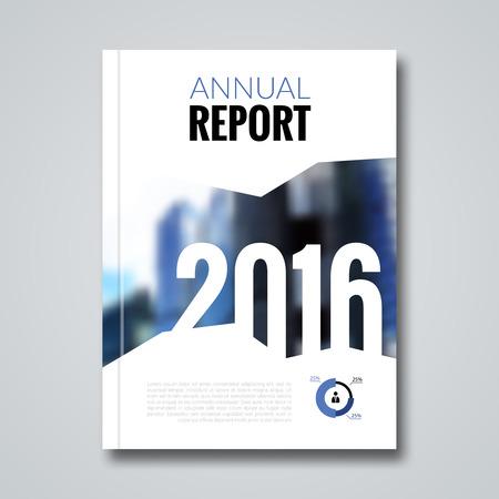 Jaarverslag ontwerp sjabloon met wazige achtergrond. Stock Illustratie