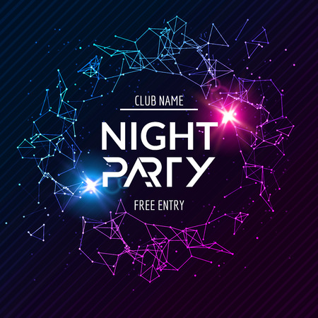Night Party poster. Shiny banner club disco. Dj dance summer invitation.