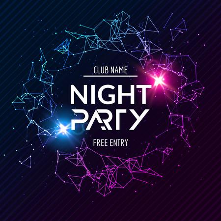 Night Party poster. Shiny banner club disco. Dj dance summer invitation.