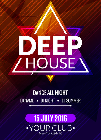Club elektronische deep house muziek poster. Muzikaal evenement DJ flyer. Disco trance sound. Nacht feestje. Vector Illustratie