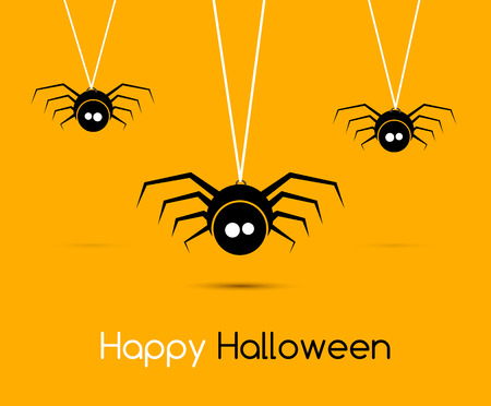 gossamer: Illustration Cute Funny Spiders and Cobweb for Halloween, Simple style with Shadows - Vector illustration.