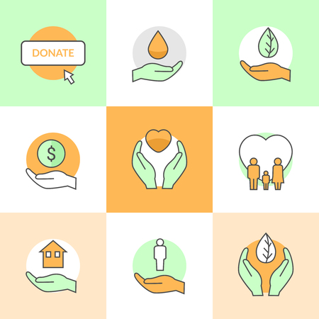 philanthropist: Flat icons set with charity and donation theme flat line vector icons.