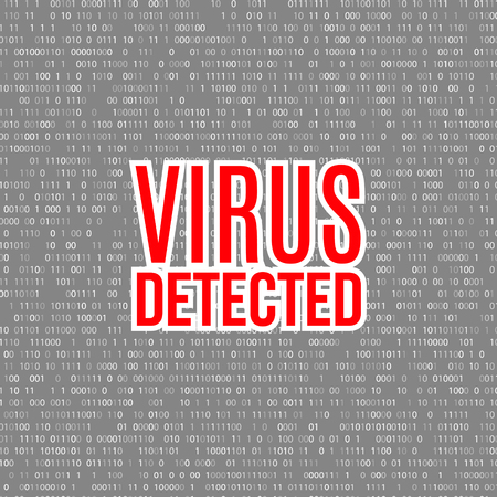 removing: Virus detected vector background with digital numbers. hacker concept. Illustration