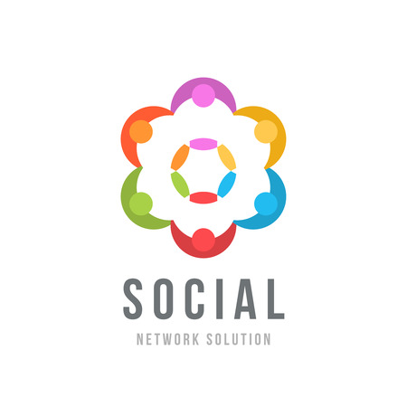 friendship circle: Social network concept design vector template with abstract characters. People holding hands, Friendship, Partnership, Cooperation, Teamwork, Family concept icon. Six point star