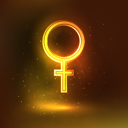 monogamous: Women sign symbol. Glowing background vector illustration