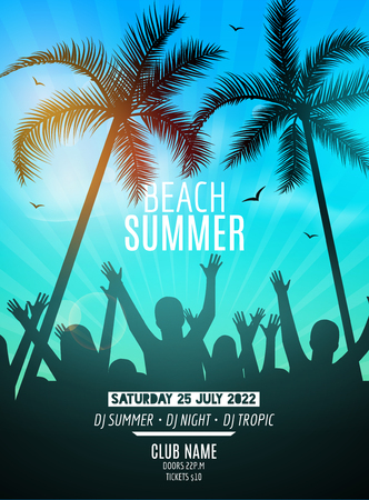 Summer beach party design template. Party people silhouette template. Dance disco poster flyer mockup.