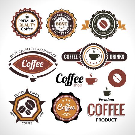 Set di etichette di caffè e distintivi. Retro caffè stile vintage.