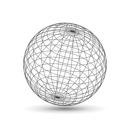 geosphere: Wireframe globe icon, 3d version design template vector Stock Photo
