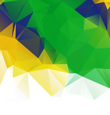 green flag: Brazil flag vector geometric background pattern concept with green triangles. Stock Photo