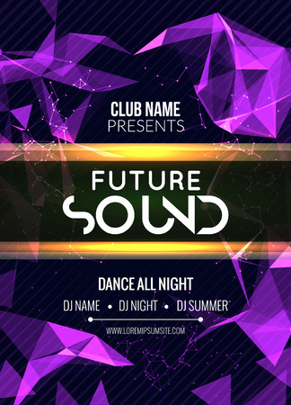 Modern Future Sound Party Template, Dance Party Flyer, brochure. Night Party Club sound Banner Poster.
