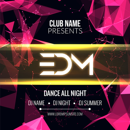 Modern EDM Music Party Template, Dance Party Flyer, brochure. Night Party Club Banner Poster Imagens