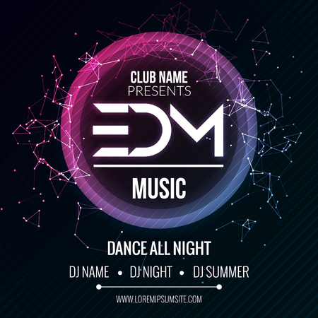 EDM Club Music Party Template, Dance Party Flyer, brochure. Night Party Club sound Banner Poster Imagens - 57758763