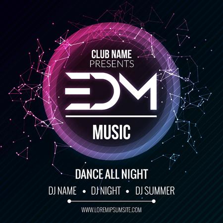 Plantilla EDM Parte Music Club, Dance Party folleto, folleto. Noche del partido del club de sonido cartel de la bandera Ilustración de vector