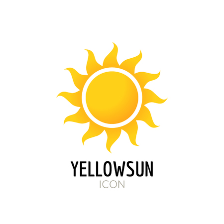 Sun icon sign. Icon or logo design with yellow sun. Ilustração