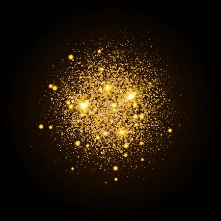 골드 반짝이 입자 모양입니다. 스파클링 배경. 검은 배경에 스타 더스트 폭발. 벡터 축제입니다.