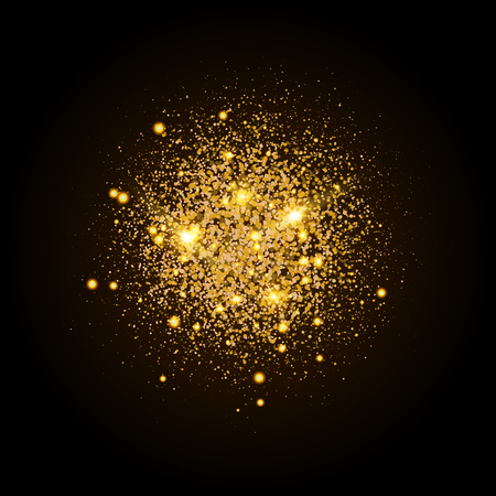 Gold shiny particles shape. Sparkling background. Stardust explosion on black background. Vector festive illustration. Ilustrace