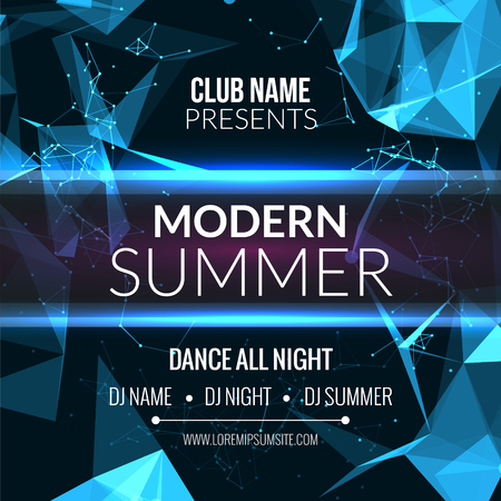 Modern Summer Club Music Party Template, Dance Party Flyer, brochure. Night Party Club sound Banner Poster 矢量图像