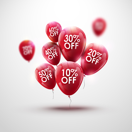 baloon: Red Baloons Discount. SALE concept for shop market store advertisement commerce. Market discount, red baloon, sale balloons. Business sale balloon. Balloon bunch. Red balloons template