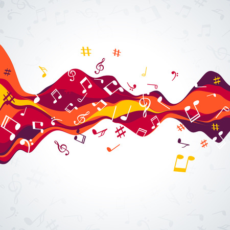 Musical sound wave with notes. Colorful Music background wave.
