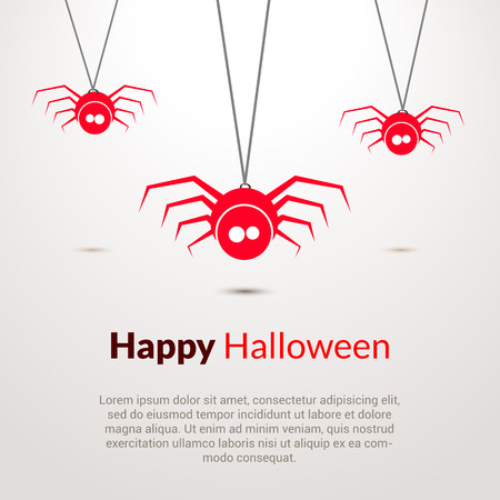 hapy: Hapy Halloween background with cute spiders template Illustration