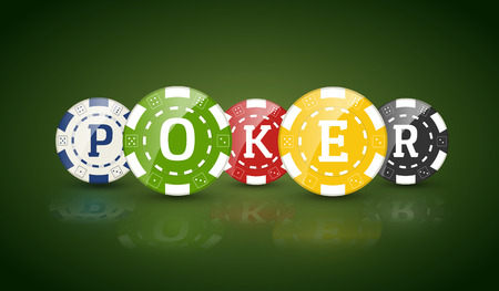 wagers: Poker chips with word POKER. Casino concept of colorful chips