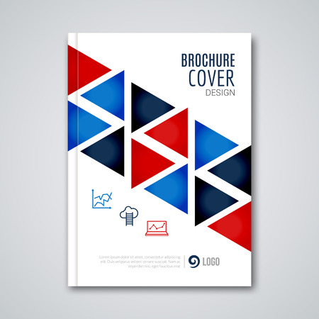 prospectus: Cover flyer report colorful triangle geometric prospectus design background, cover flyer magazine, brochure book cover template layout, vector illustration. Illustration