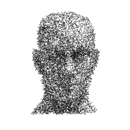 face men: Vector head human face wireframe technology concept.