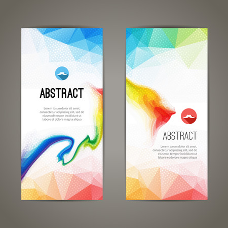 Set of polygonal triangular colorful geometric banners for innovate youth modern design. Stock Illustratie