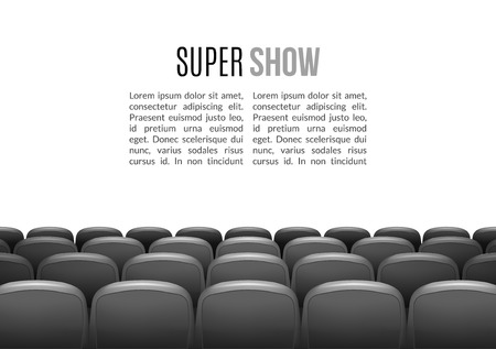 premiere: Movie theater with row of gray seats. Premiere event template. Super Show design. Presentation concept with place for text. Illustration