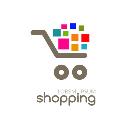 Online Shop mall market concept cart design vector business template icon for store, any commercial, sale etc.