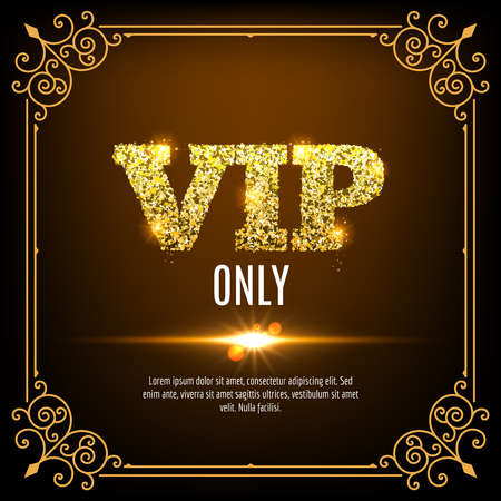 shiny icon: VIP members only. Vip persons background. Vip club banner design invitation. Golden letters