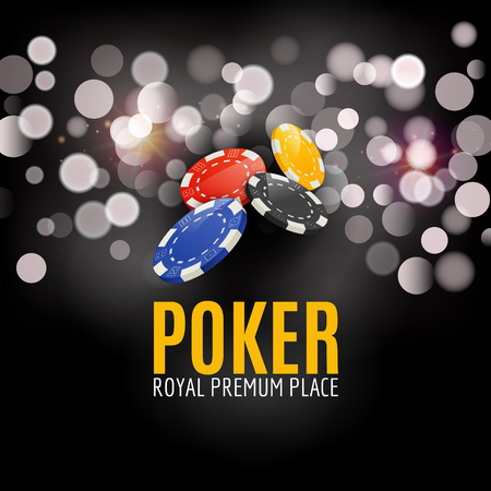 famosos: Luminoso Casino Poker cartel de la bandera. Ver el diseño Poker centro de atención con fichas. cartel casino.