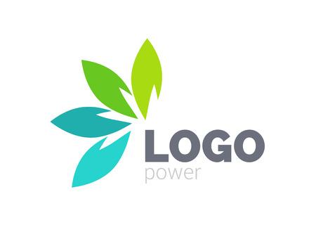 Green leaf logo design. Four leaves health environmental logo. Green logo. Leaf logo, health icon.