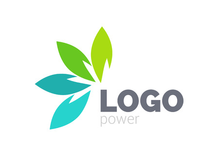 Green leaf logo design. Four leaves health environmental logo. Green logo. Leaf logo, health icon.