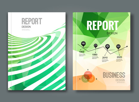 annual report: Set of trendy geometric triangular and other design style brochure cover template mockups, annual reports for business visual identity.