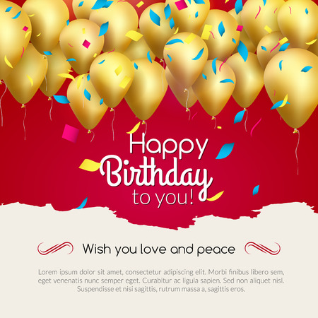 Vector Happy Birthday Card With Golden Balloons And Confetti