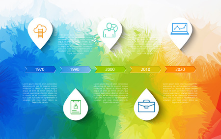 orginal: Infographic timeline design concept - template with points and outline icons. Idea to display information, ranking and statistics with orginal and modern business style.