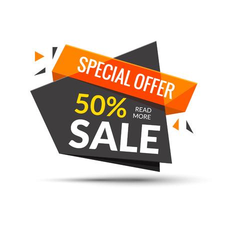 Bannière de vente. Contexte de marketing. Grand tag de vente Affiche moderne Offre spéciale 50 pour cent de réduction. Illustration vectorielle
