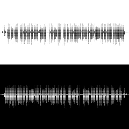 waveform: Halftone square vector elements.Vector sound waves. Music round waveform background. You can use in club, radio, pub, party, concerts, recitals or the audio technology advertising background.