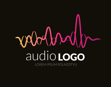 logo music: Logo template sound wave, studio, music, dj, audio system, store market party. Brand corporate identity, logotype. Clean and modern style design. Stock Photo
