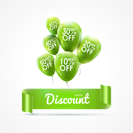 colored balloons: Flying colored balloons with ribbon and discount text. SALE concept.
