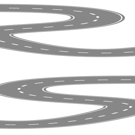 diminishing view: Curving winding road or highway with center cartoon illustration isolated on white. Stock Photo