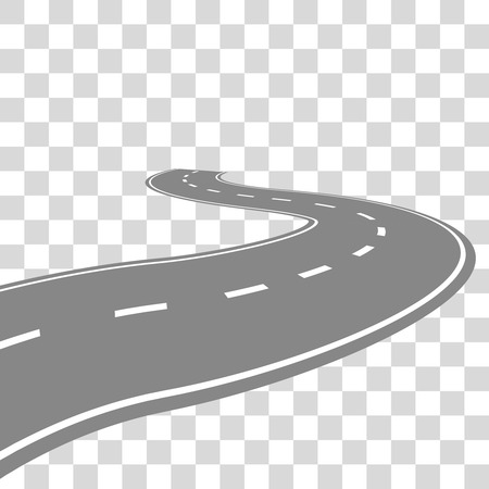curving: Curving winding road or highway with center cartoon illustration isolated on transparent.