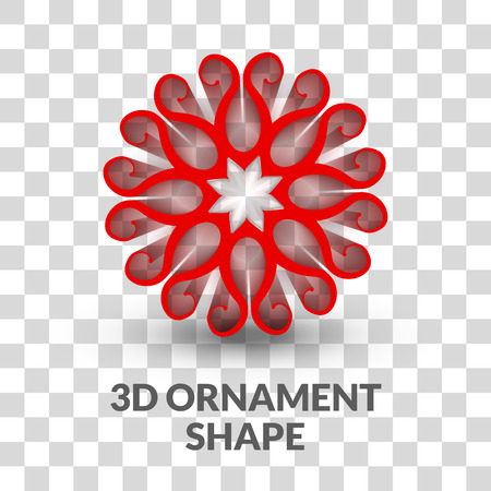 trendy shape: 3d Ornament shape on transparent grid background. Trendy shape with shadow.