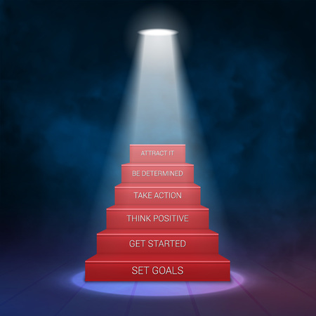 award ceremony: Smoky Stairs Stage Podium with 6 Success steps. Illuminated with spotlight for award ceremony. Vector illustration
