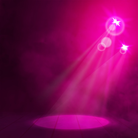night club interior: Red pink Great Premiere Show Background. Smoky vector stage podium shining with spotlights rays.