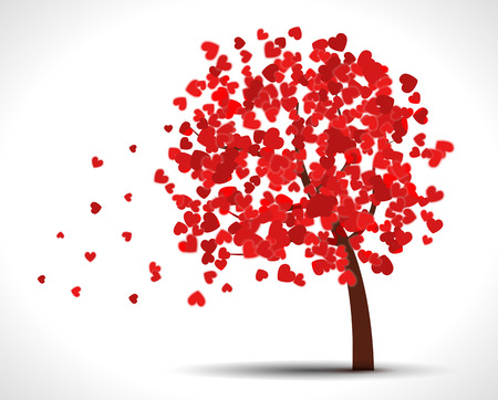 chinese symbol: Valentine tree with hearts for your design.