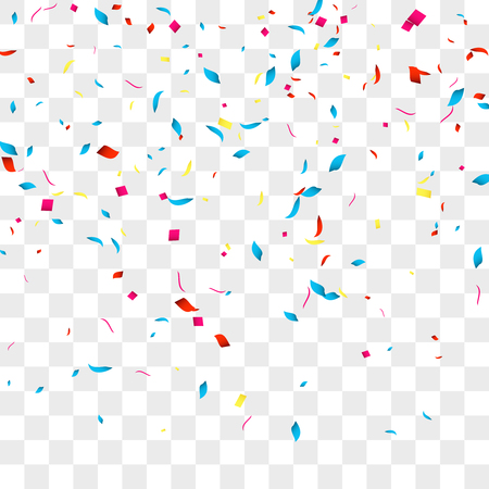 Confetti vector background over transparent grid for holidays, party, events, vector illustartion. Ilustrace