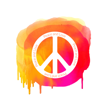 Peace sign on watercolor splatter. Hippie background.