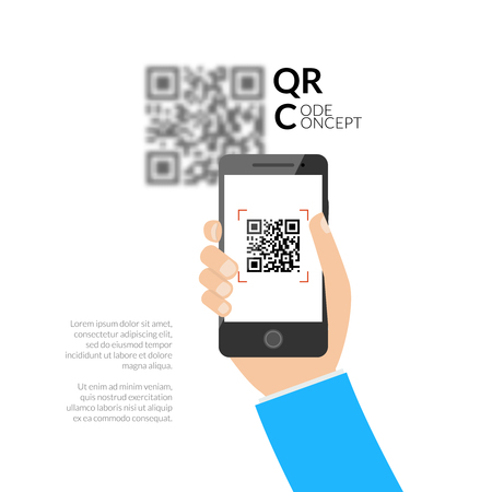QR code scanning with mobile phone. Capture QR code on mobile phone. Symbol scanning QR code. Concept of recognition QR code